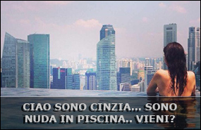 Cinzia nuda in piscina. Ti aspetta!!